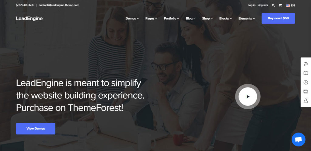 LeadEngine wordpress themes for small business