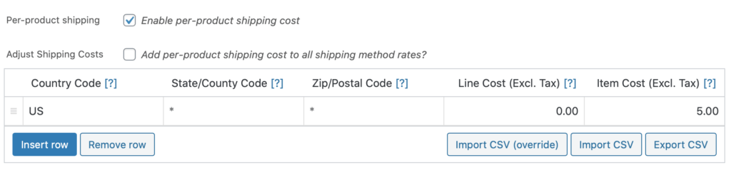 Per Product Shipping plugin for WooCommerce