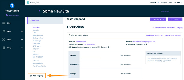 test a site account for wordpress staging website