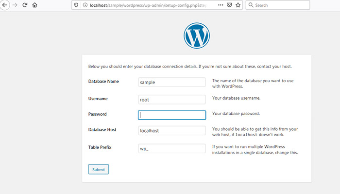 wordpress installation submit