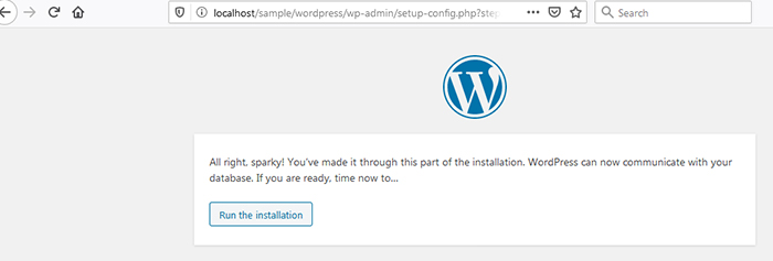 Wordpress installation run