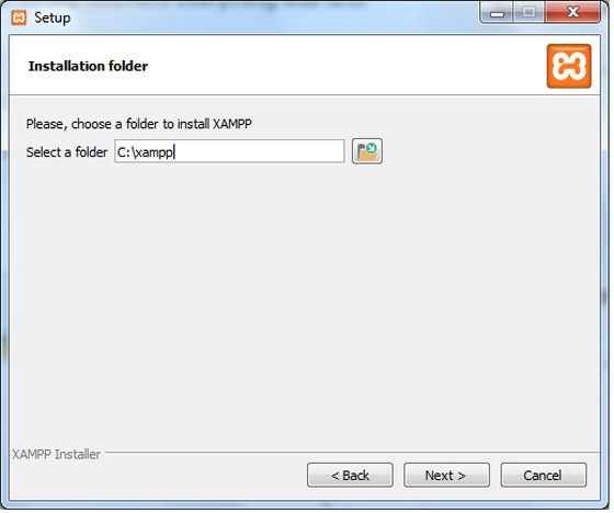 Xampp folder selection