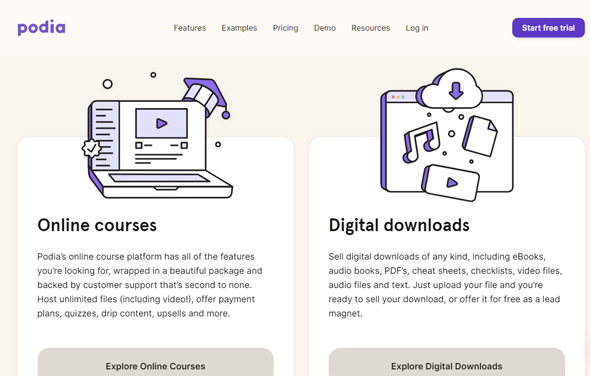 featured and benefits of podia online courses