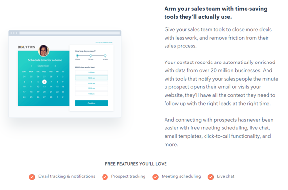 hubspot crm's features