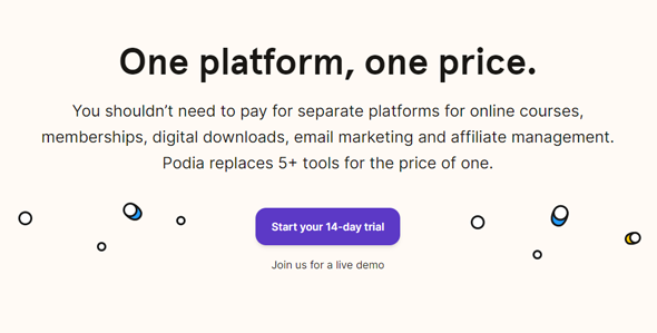 pricing plans of podia online course