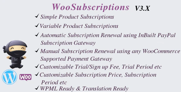 WooSubscriptions subscriptions for woocommerce plugin