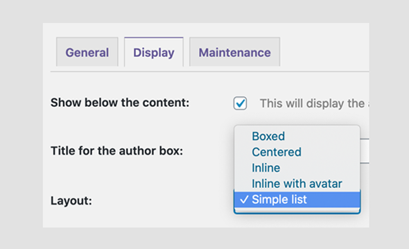 authors display settings