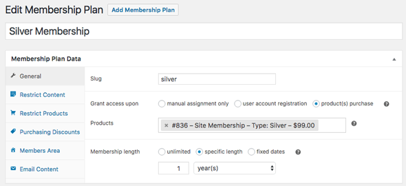 edit membership plan