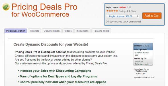 Pricing Deal for WooCommerce Plugin