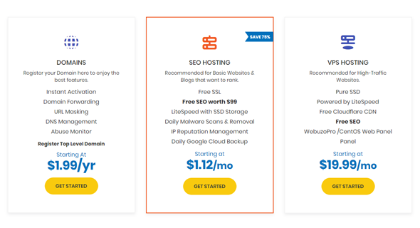 pricing plan of youstable web hosting