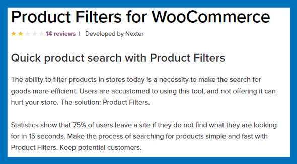 Product filters for woocommerce plugin