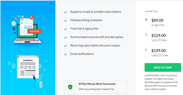 Subscription for woocommerce plugin