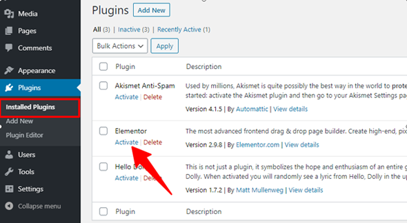 activate the installed plugin
