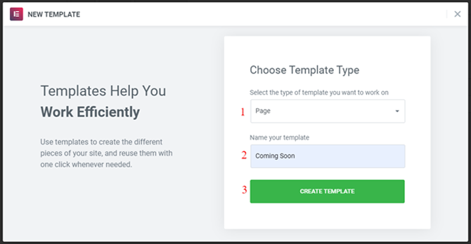 choose a new template from elementor