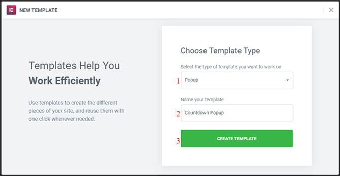 choose a new template type for popup countdown