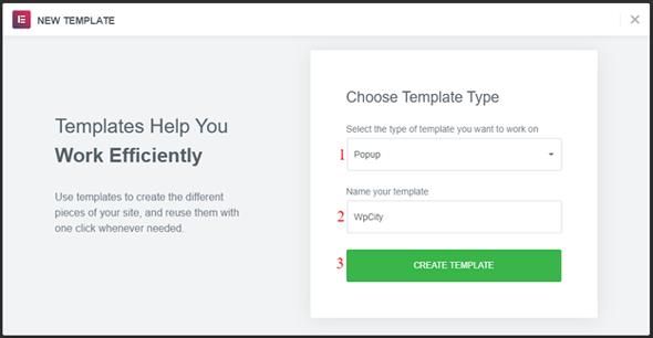 create a template to add a popup in elementor