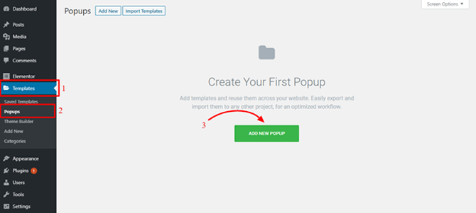 create your first popup in elementor