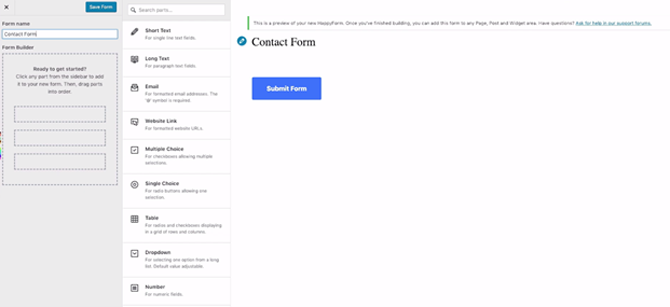 creating a contact form with happyforms