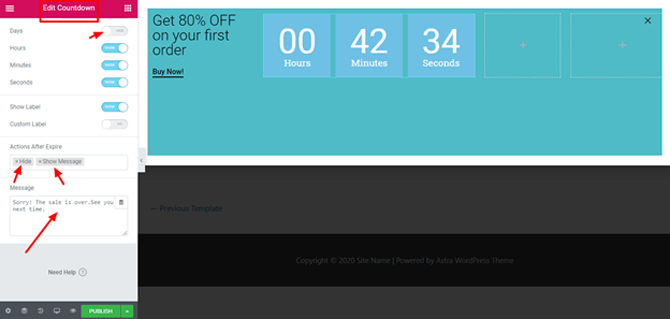 design the countdown timer in elementor