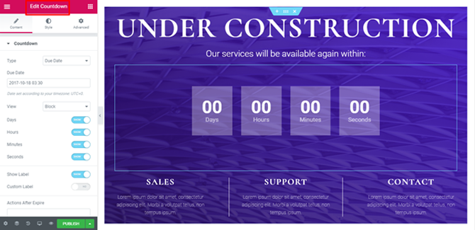 edit countdown of under construction page