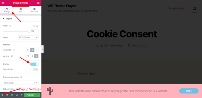 elementor popup settings for cookie consent