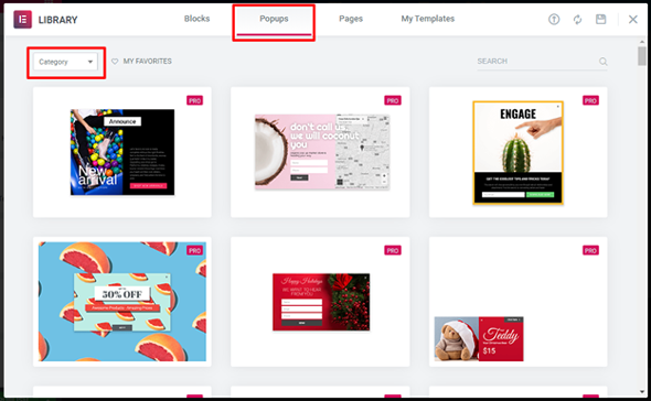 elementor popup template library