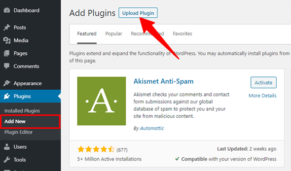 install a wordpress plugin by upload method