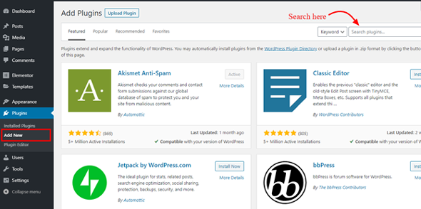 install a wordpress plugin via wordpress plugin searchbox