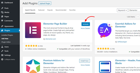 install and activate wordpress plugin