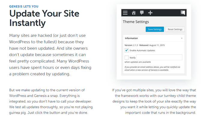 update your site instantly with genesis framework