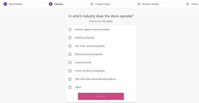 choose your industry in woocommerce setup