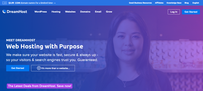 dreamhost web hosting for small business