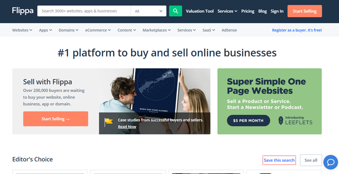 flippa buy sell online business