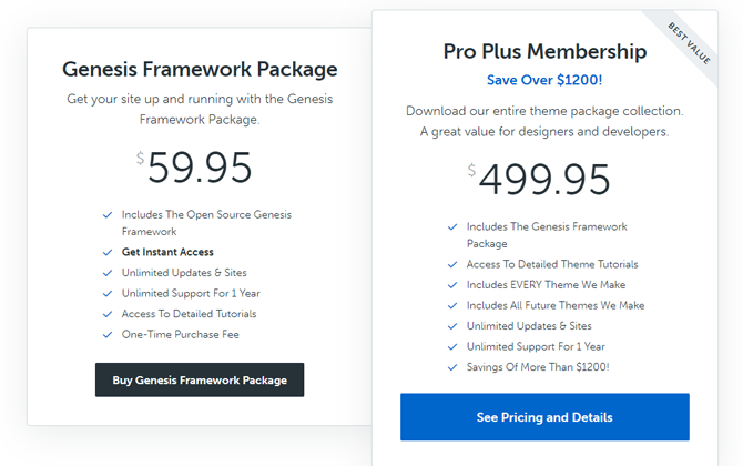 genesis framework pricing