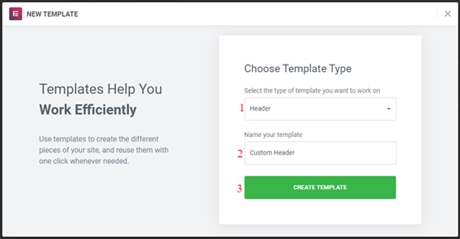 select new template type in elementor