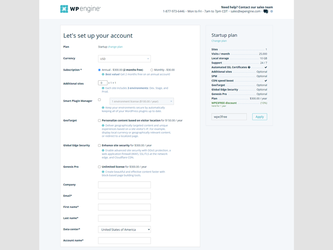 set up your account in wp engine