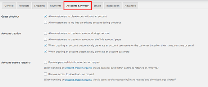 woocommerce accounts and privacy settings