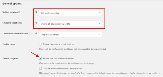 woocommerce general options setting from wordpress dashboard
