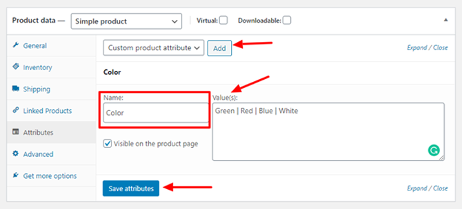 woocommerce product attributes data