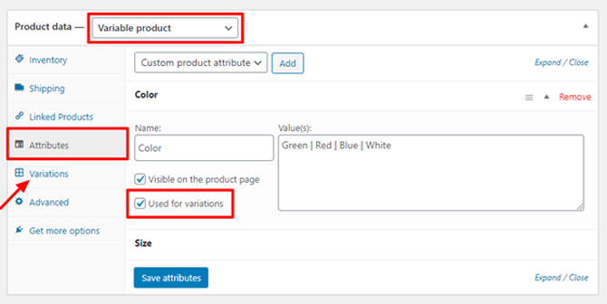 woocommerce variable product attributes