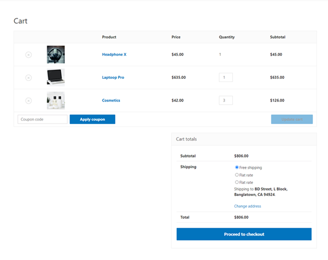 cart page preview using elementor shortcode