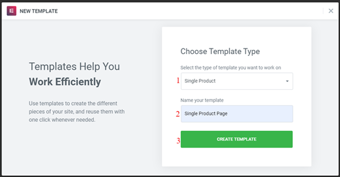 choose a template in elementor
