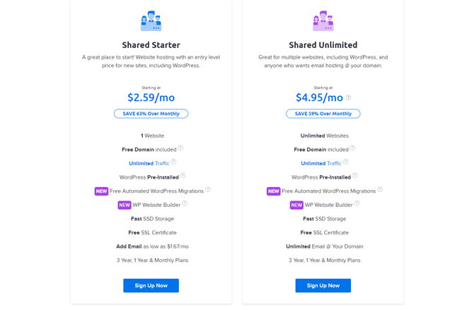 dreamhost shared hosting pricing plan