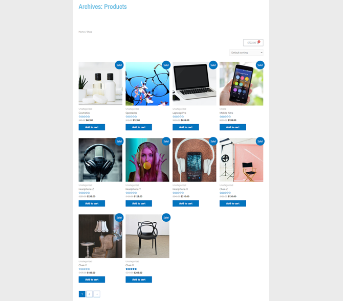 preview woocommerce shop page