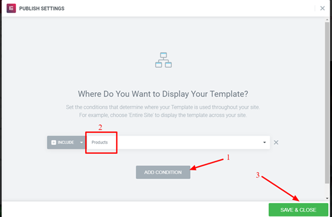 publish the elementor template