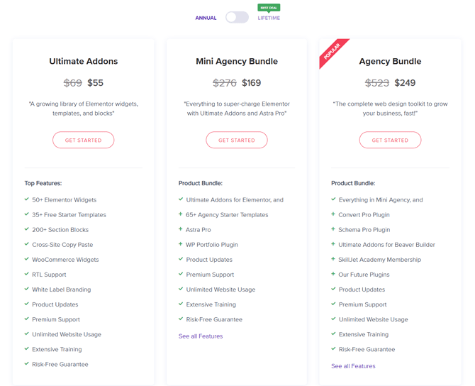 ultimate addons for elementor pricing