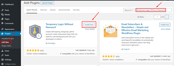 add temporary login without password plugin
