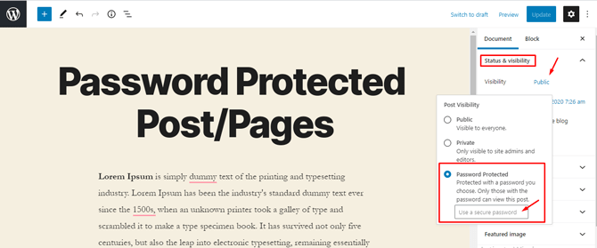 password protected post page visibility