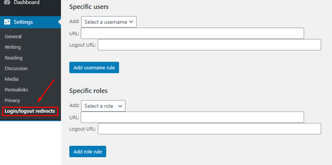 peters login redirect specific users roles