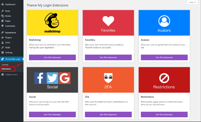 theme my login extensions